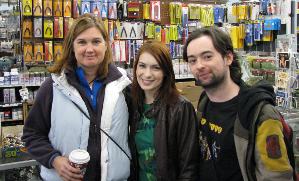 Cast Members Ingrid Moon, Felicia Day and Damien Valentine on the set of The Guild.